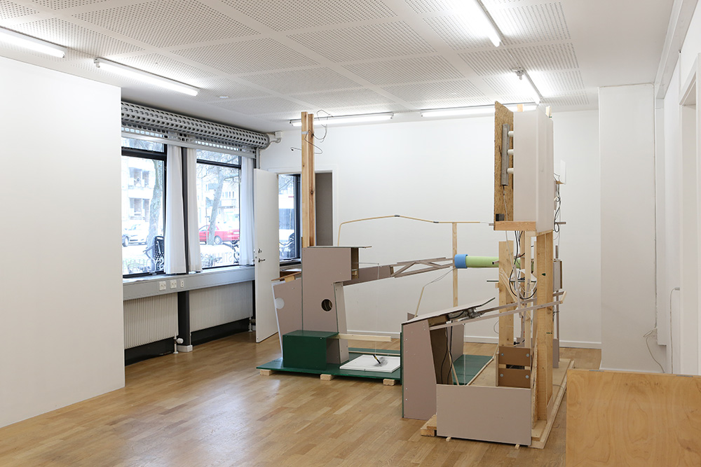 """The """"quiet"""" exhibition space with a work by Kim Grønborg, """" Detached Apparatus, 2 Flaws"""""""