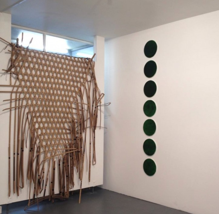 "Front right to left: Sarah Keighery, ""Green Line E142  '10' 1-7,"" Annee Miron,  ""Borrowed"""